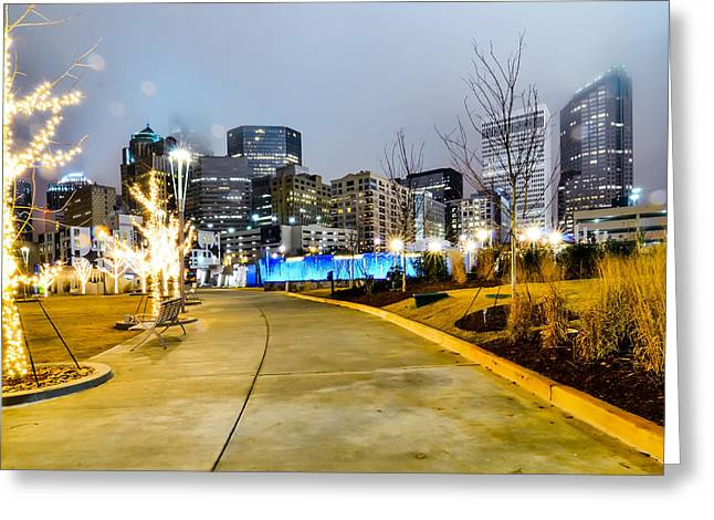 Charlotte Greeting Cards - Charlotte City Skyline  Greeting Card by Alexandr Grichenko