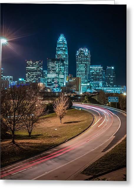 Dnc Greeting Cards - Charlotte City Skyline night scene Greeting Card by Alexandr Grichenko