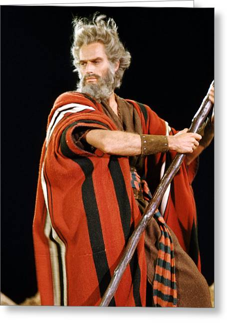 Commandment Greeting Cards - Charlton Heston in The Ten Commandments  Greeting Card by Silver Screen