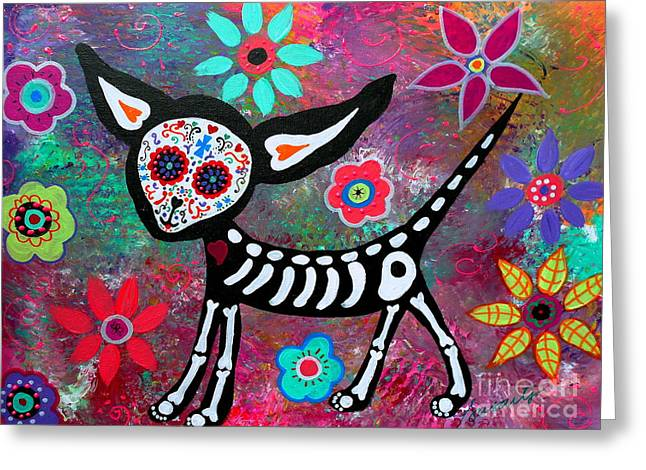 Pet Lover Greeting Cards - Chihuahua Dia De Los Muertos Greeting Card by Pristine Cartera Turkus