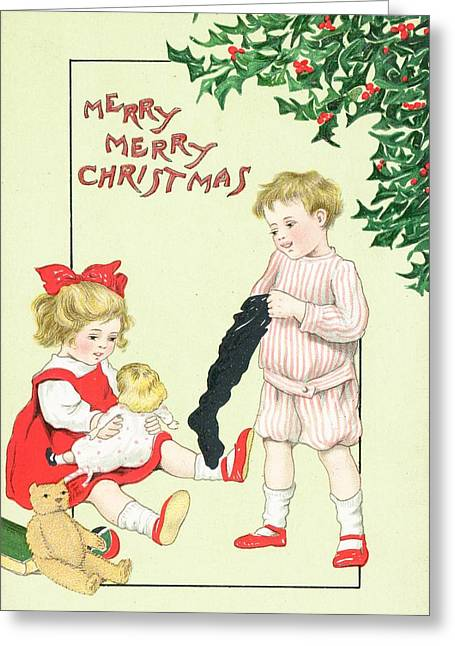 Cards Vintage Paintings Greeting Cards - Christmas card Greeting Card by English School