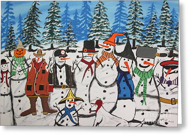 Christmas Greeting Greeting Cards - 10 Christmas Snowmen  Greeting Card by Jeffrey Koss