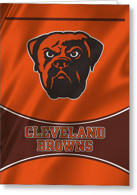 Team Greeting Cards - Cleveland Browns Uniform Greeting Card by Joe Hamilton