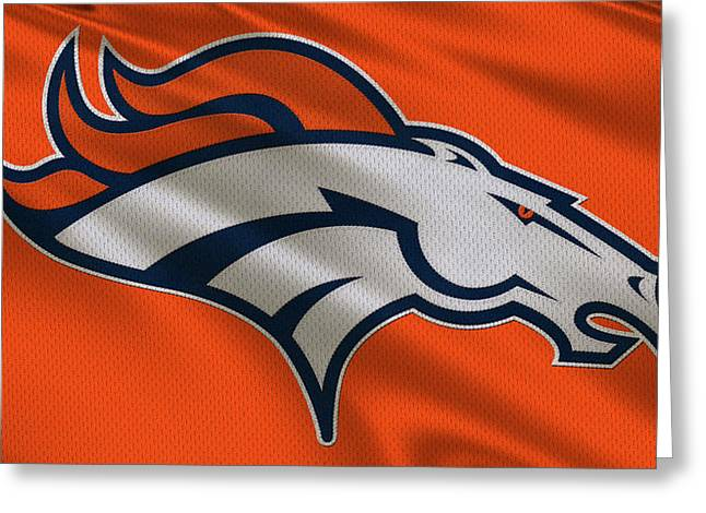 Team Greeting Cards - Denver Broncos Uniform Greeting Card by Joe Hamilton