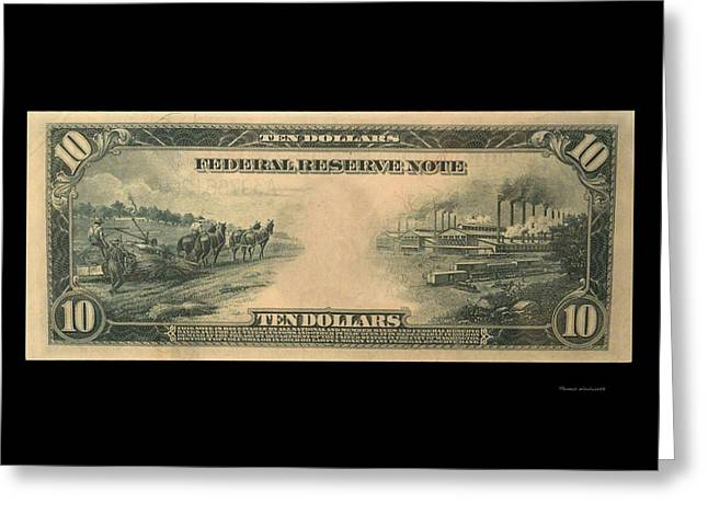 Inflation Greeting Cards - 10 Dollar US Currency 1914 Bill Backside Greeting Card by Thomas Woolworth