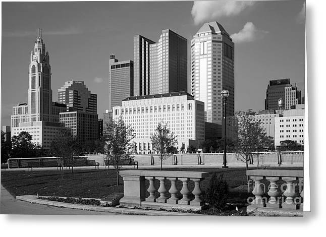 Downtown Genoa Greeting Cards - Downtown Skyline of Columbus Ohio Greeting Card by Bill Cobb
