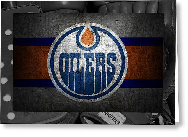 Skates Greeting Cards - Edmonton Oilers Greeting Card by Joe Hamilton