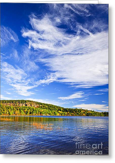 Algonquin Greeting Cards - Fall forest and lake Greeting Card by Elena Elisseeva