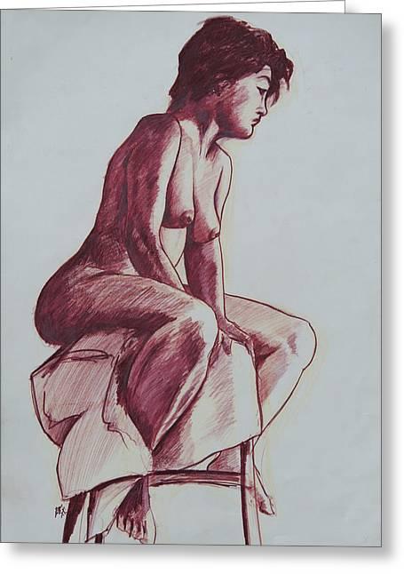 Seated Figure Drawings Greeting Cards - Figure Study Greeting Card by Rachel Christine Nowicki