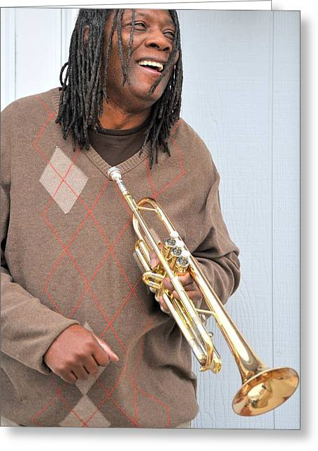 African-americans Greeting Cards - Jazz musician. Greeting Card by Oscar Williams