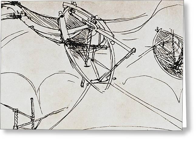 Aeronautical Greeting Cards - Leonardo Da Vinci Greeting Card by Granger