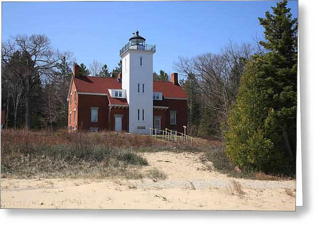 Beach House Decor Posters Greeting Cards - Lighthouse - 40 Mile Point Michigan Greeting Card by Frank Romeo