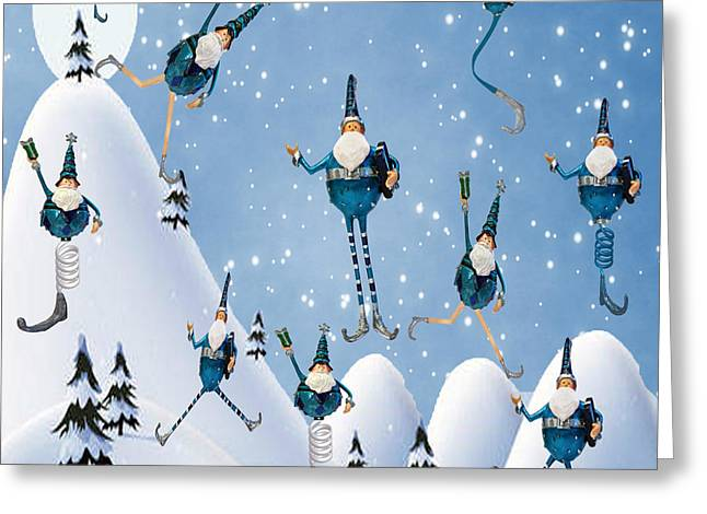 Yuletide Greeting Cards - 10 Lords A Leaping Greeting Card by Juli Scalzi