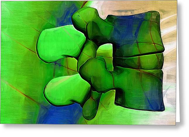Therapy Digital Art Greeting Cards - Lumbar Spine Greeting Card by Joseph Ventura