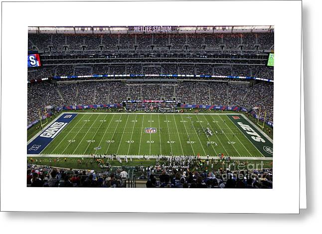 Endzone Greeting Cards - MetLife Stadium Greeting Card by Allen Beatty