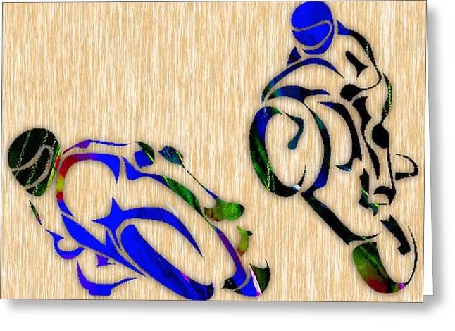 Motorbikes Greeting Cards - Motorcycle Racing Greeting Card by Marvin Blaine