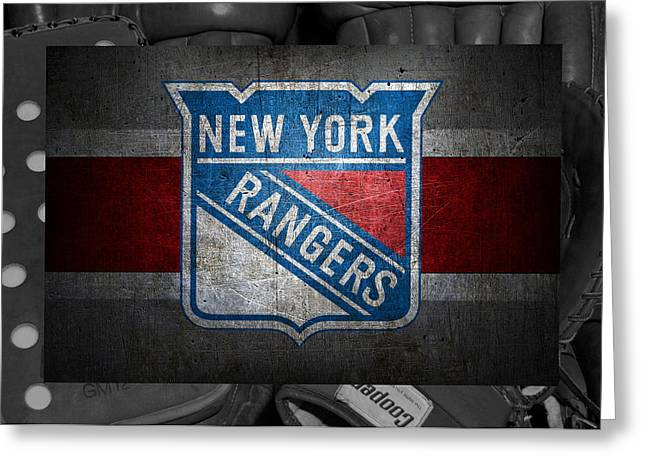 Stick Greeting Cards - New York Rangers Greeting Card by Joe Hamilton