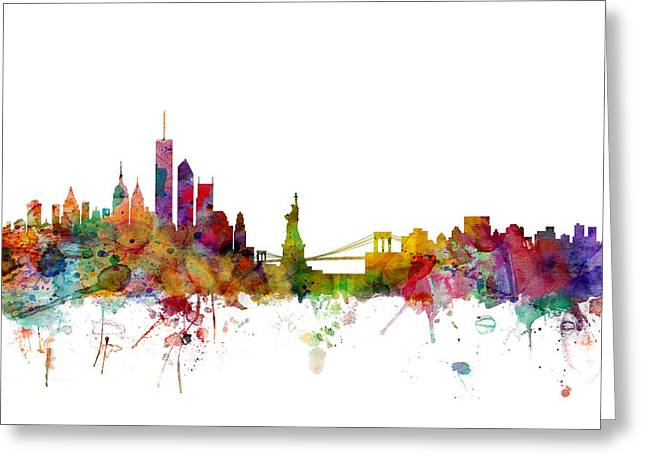 Urban Watercolour Greeting Cards - New York Skyline Greeting Card by Michael Tompsett