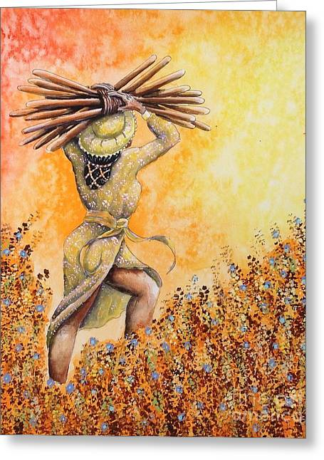 Will Power Greeting Cards - 10 of Wands Accomplishment Greeting Card by Louisa Poole