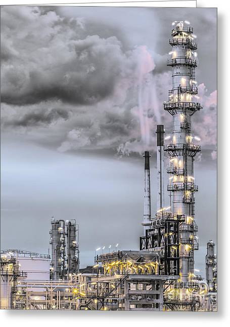 Manufacturing Greeting Cards - Oil Refinery Plant Greeting Card by Anek Suwannaphoom