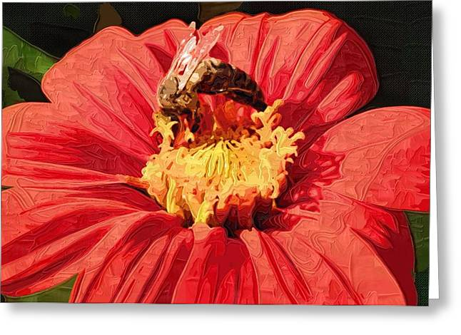 Close Up Paintings Greeting Cards - Paintings Abstract Flowers Greeting Card by Victor Gladkiy