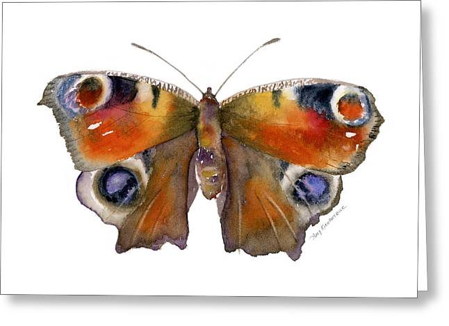Buckeye Greeting Cards - 10 Peacock Butterfly Greeting Card by Amy Kirkpatrick