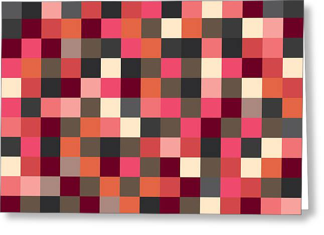 Geometric Artwork Greeting Cards - Pixel Art Square Greeting Card by Mike Taylor