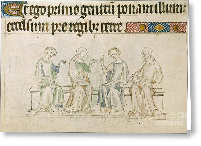 Men Conversing Greeting Cards - Queen Mary Psalter Greeting Card by British Library