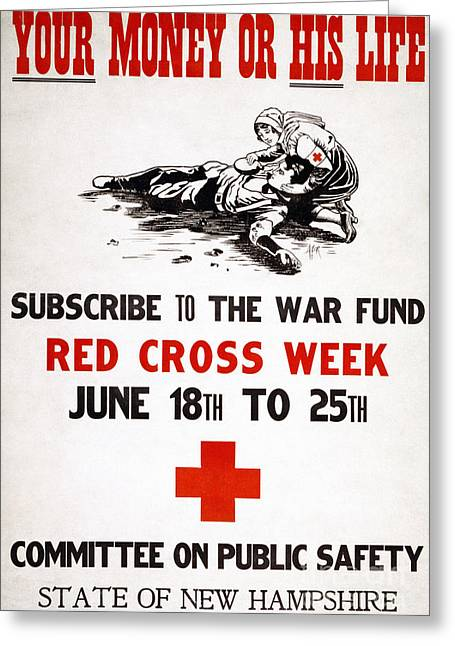 """""""war Women"""" Greeting Cards - RED CROSS POSTER, c1917 Greeting Card by Granger"""