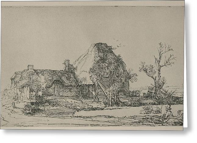 """storm Prints"" Drawings Greeting Cards - Rembrandt cottege print Greeting Card by Rembrandt"