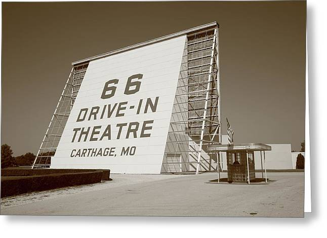 Route 66 - Drive-In Theatre Greeting Card by Frank Romeo
