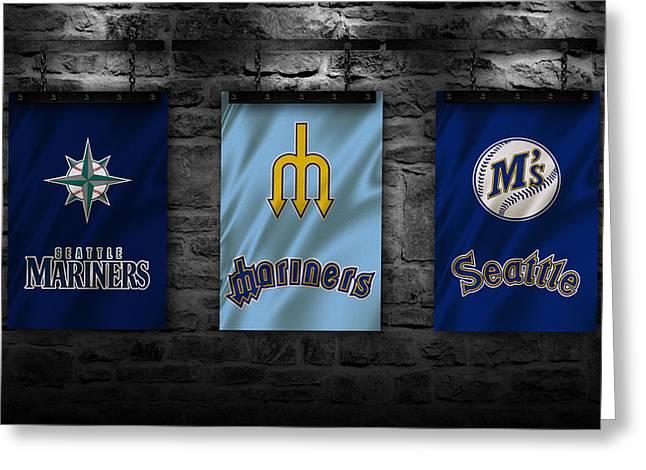 Baseball Uniform Greeting Cards - Seattle Mariners Greeting Card by Joe Hamilton