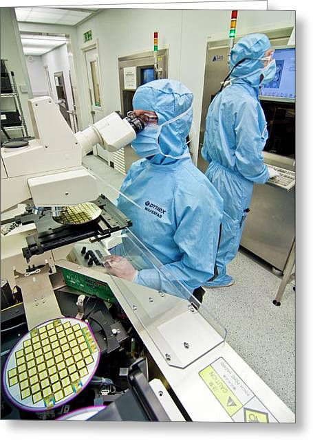 Silicon Wafer Research Greeting Card by Chris Knapton