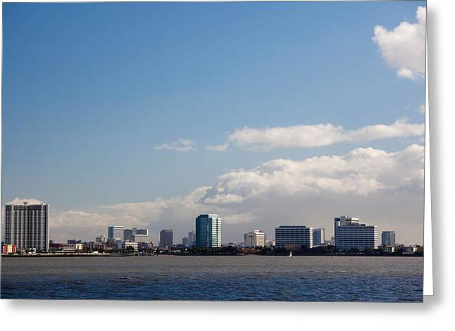 California Ocean Photography Greeting Cards - Skyscrapers At The Waterfront Greeting Card by Panoramic Images