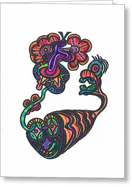 Hallucination Drawings Greeting Cards - Soul Creatues From heaven Greeting Card by Robert Prins