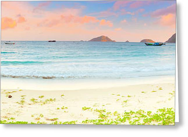 Summer Scene Greeting Cards - Sunset panorama Greeting Card by MotHaiBaPhoto Prints
