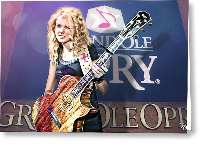 Taylor Guitar Greeting Cards - Taylor Swift Greeting Card by Don Olea