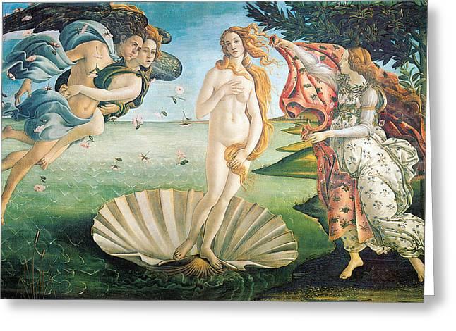 Goddess Birth Art Greeting Cards - The Birth of Venus Greeting Card by Sandro Botticelli