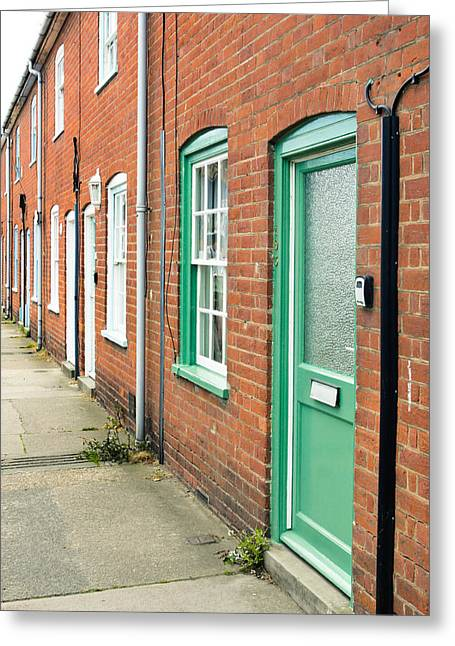 Aldeburgh Greeting Cards - Town houses Greeting Card by Tom Gowanlock