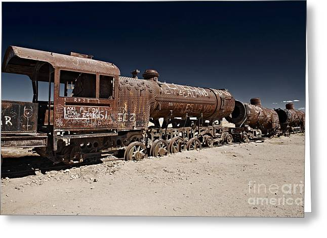 train cemetery near Salar de Uyuni Bolivia rusty railway Greeting Card by Juergen Ritterbach
