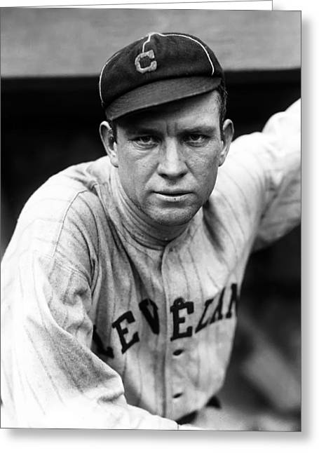 Cleveland Indians Greeting Cards - Tristram E. Tris Speaker Greeting Card by Retro Images Archive