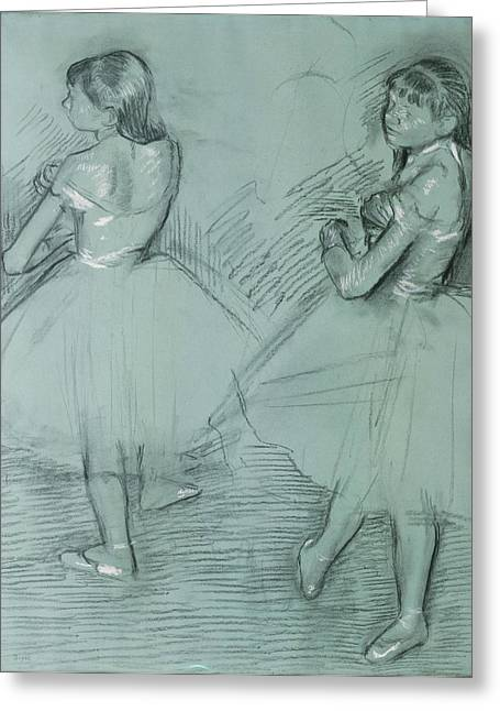 Edgar Drawings Greeting Cards - Two Dancers Greeting Card by Edgar Degas