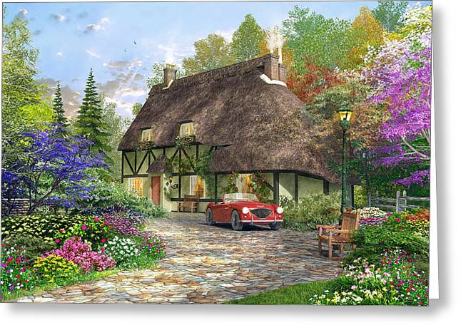 Driving Greeting Cards - The Oak Wood Cottage Greeting Card by Dominic Davison