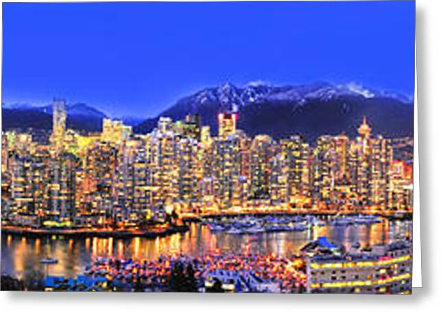 Lights Of Vancouver Greeting Cards - Vancouver Skyline Panorama Greeting Card by Wesley Allen Shaw