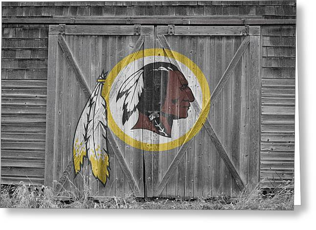 Barn Door Greeting Cards - Washington Redskins Greeting Card by Joe Hamilton