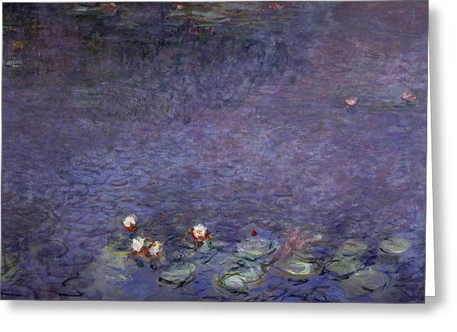 Reflections In River Greeting Cards - Water Lilies Greeting Card by Claude Monet