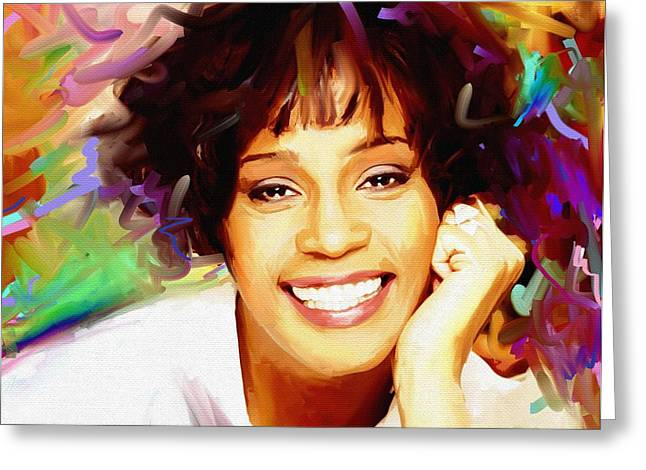 Super Stars Greeting Cards - Whitney Houston Greeting Card by Bogdan Floridana Oana