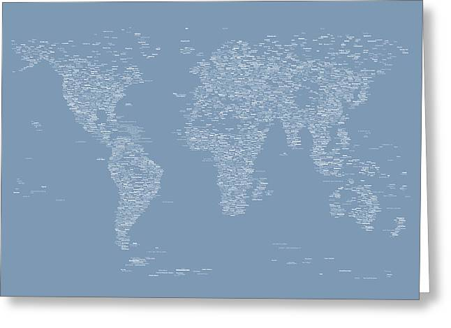 Font Map Digital Greeting Cards - World Map of Cities Greeting Card by Michael Tompsett