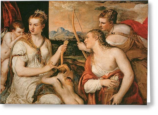Venus And Cupid Greeting Cards - Venus Blindfolding Cupid Greeting Card by Titian