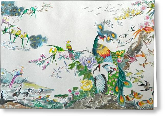 Chinese Landscape Greeting Cards - 100 Birds Greeting Card by Min Wang